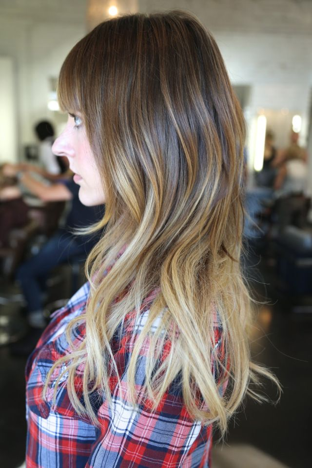 Side View Of Pretty Brown To Blonde Ombre Hair For Long