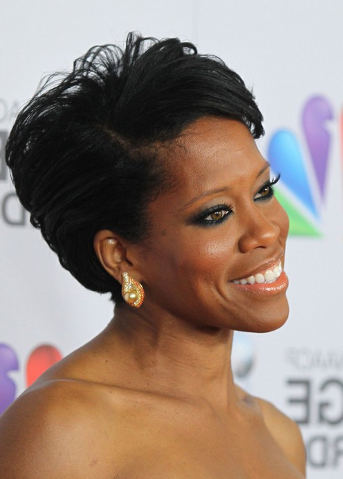 Side View Of Regina King Short Side Parted Haircut For Black Women