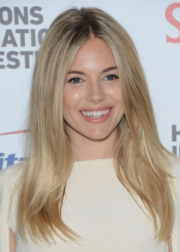 Sienna Miller Latest Center Parting Blonde Straight