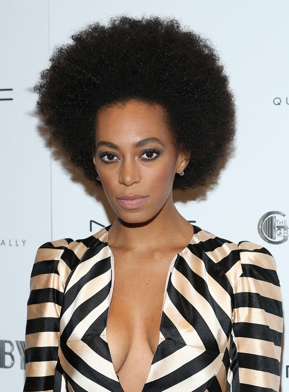 Solange Knowles Classic Afro Hairstyle For Women Styles