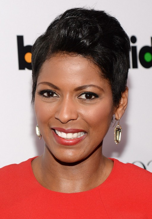 Tamron Hall Short Side Parted Black Haircut for Black Women