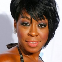 Tichina Arnold Short Black Asymmetrical Razor Cut with Bangs