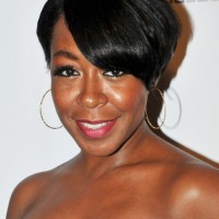 Tichina Arnold Short Side Parted Black Hairstyle with Bangs