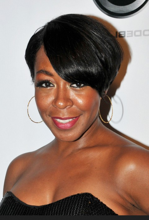 Tichina Arnold Short Side Parted Black Hairstyle With