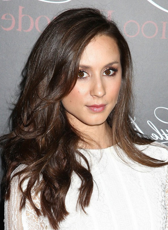 Troian Bellisario Chic Long Brown Wavy Hairstyle For Girls