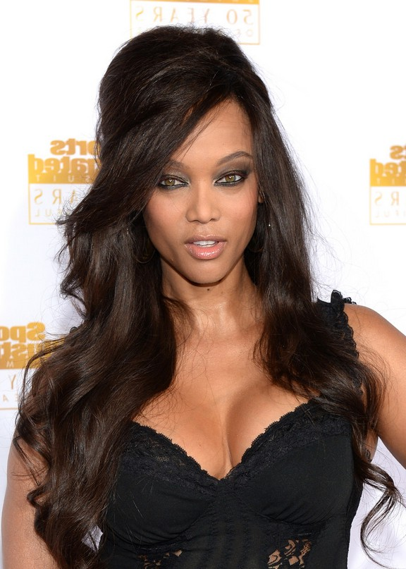 Tyra Banks 1960s Retro Half Up Half Down Hairstyle For Black Women