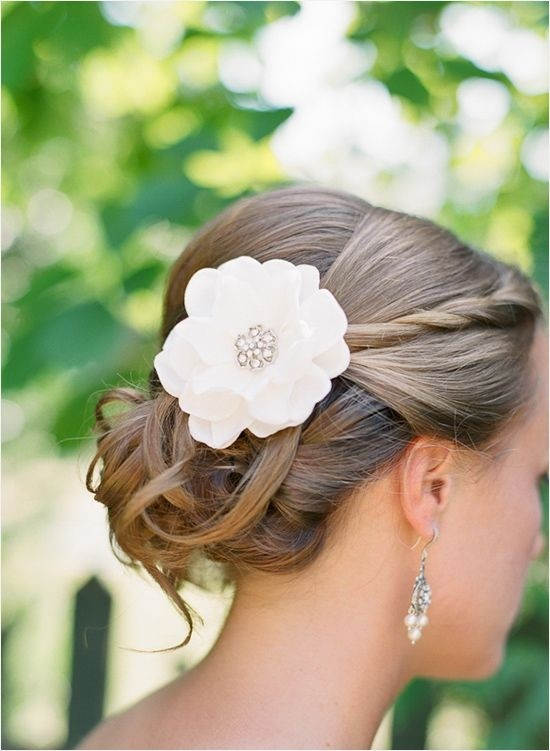 Updos with Flower and Braid: Bridal Updo Hairstyle Back View