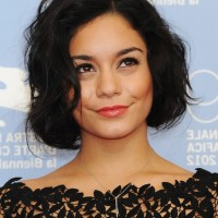 Vanessa Hudgens Cute Short Black Wavy Hairstyle for Round Faces