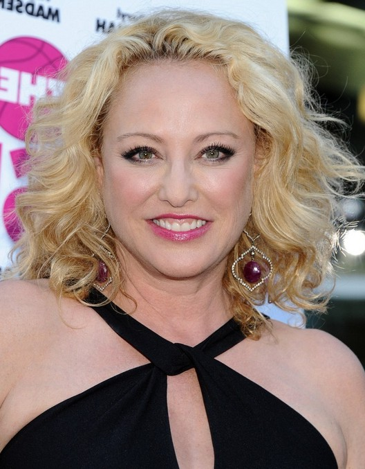 Virginia Madsen Blonde Wavy Curly Hairstyle for Oval Faces