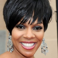 Wendy Raquel Robinson Layered Short Black Haircut with Bangs for Black Women