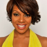 Wendy Raquel Robinson Short Layered Haircut with Side Swept Bangs