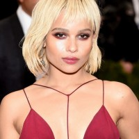 Zoe Kravitz Short Blonde Bob Cut with Wispy Bangs