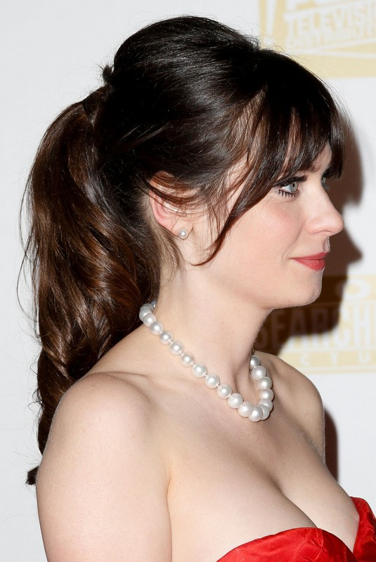 Zooey Deschanel Pin Up Messy Ponytail With Wispy Bangs For