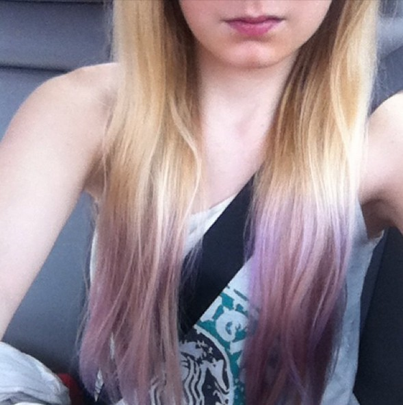 lavender-blonde dip dye for Summer
