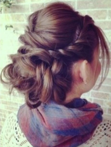 Hair Twisted Back to a Low Messy Bun