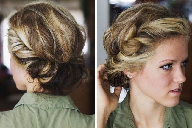 Simply Twist And Tuck Your Locks Around A Thin Elastic Headband To DIY This Boho Updo