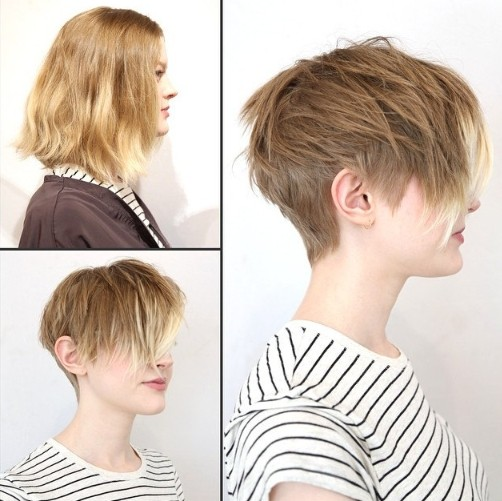 2015 Short Hairstyles with Side Bangs: Ombre Hair