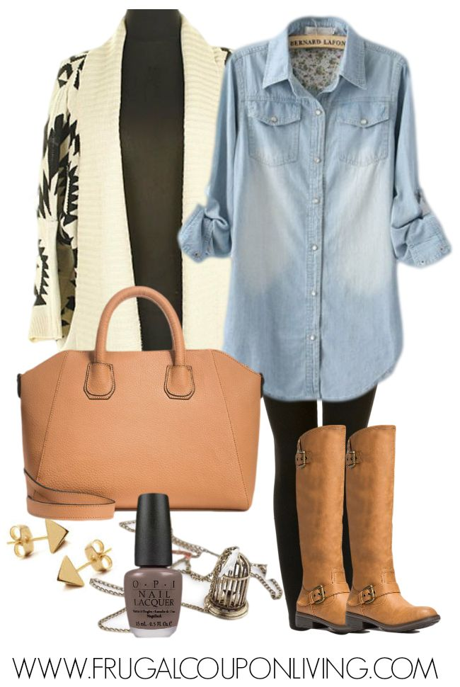 Aztec Sweater Outfit with a Jean Shirt