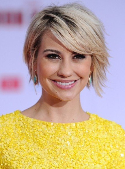 Chelsea Kane Short Hairstyles - Chic Short Sleek Haircut with Side Swept Bangs