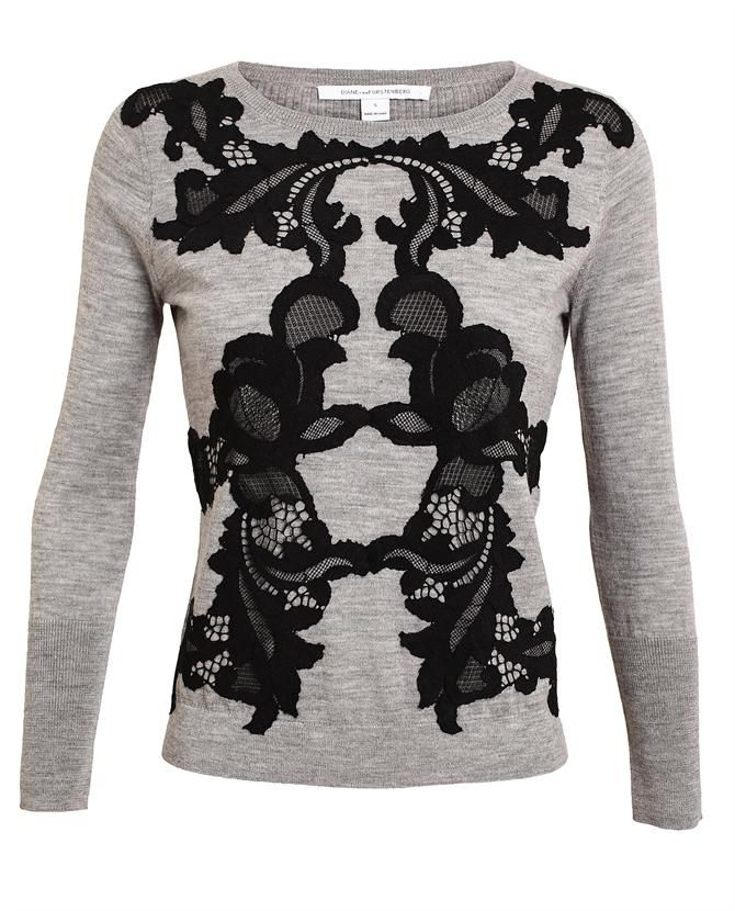 DIANE VON FURSTENBERG - Shara Lace and Wool Sweater