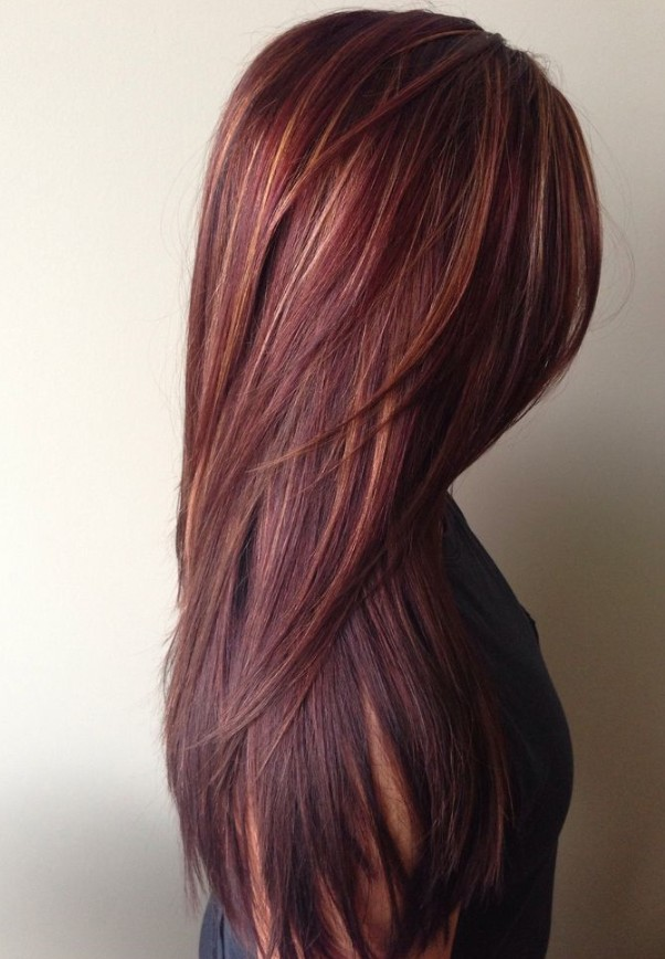 Dark red rich hair color with caramel highlights