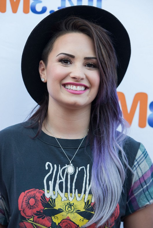 Demi Lovato Dark to Purple Ombre Hairstyle for Long Hair