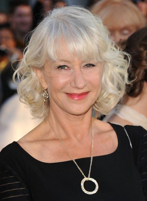 Helen Mirren Medium Blonde Curly Hairstlye for Women Over 60