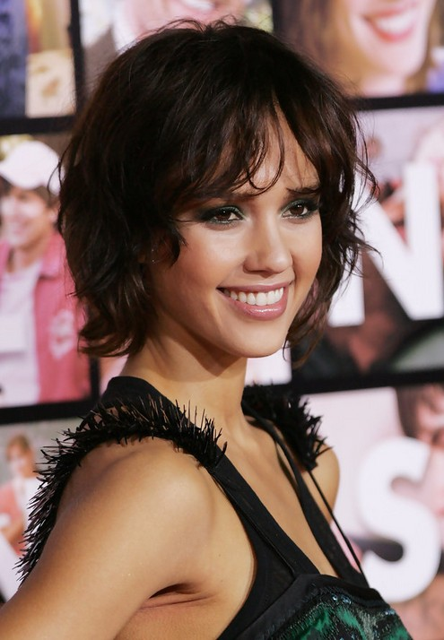JESSICA ALBA Short Curly Bob Hairstyle for 2014