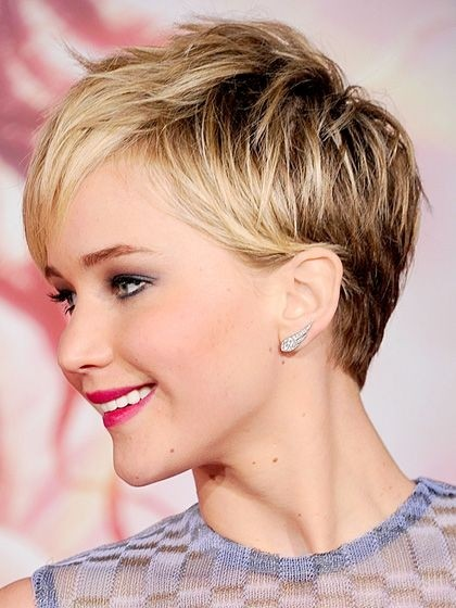 Jennifer Lawrence Short Hair Cut - Funky Formal Pixie Hairstyles 2015