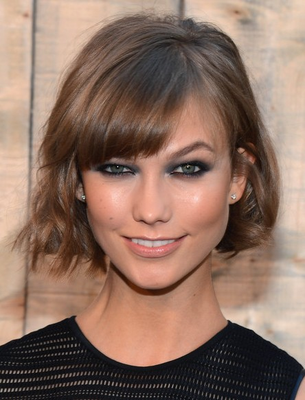 Karlie Kloss Short Hairstyle 2014 - Casual Short Haircut with Cool Bangs