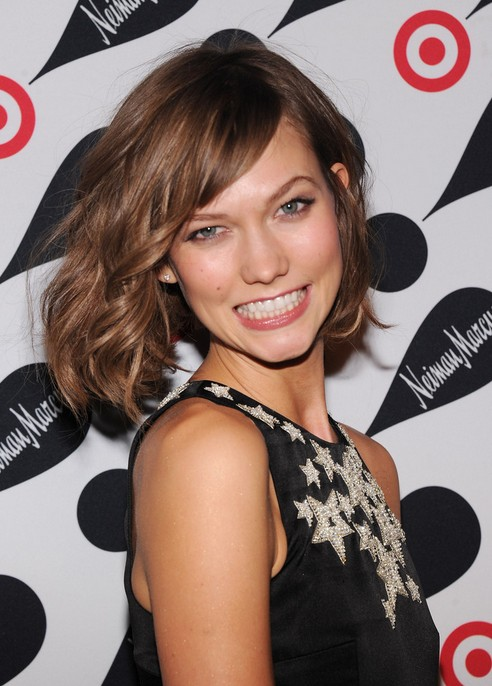 Karlie Kloss Short Wavy Bob Hairstyle with Bangs for 2014