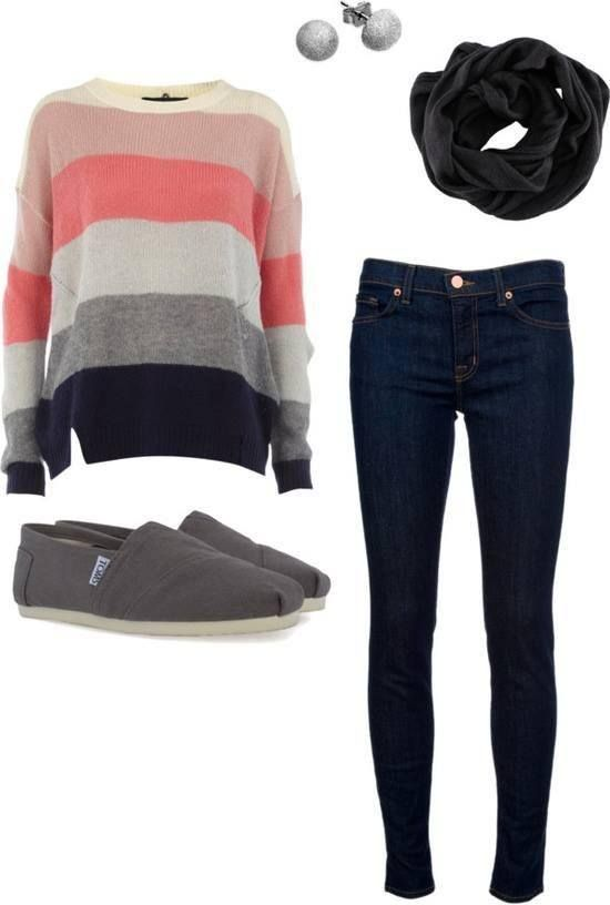 Coral Striped Sweater Outfit for 2016 - 2017