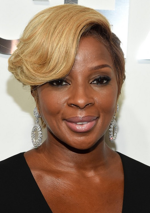 Mary J. Blige Short Hairstyle with bangs for Black Women 2016