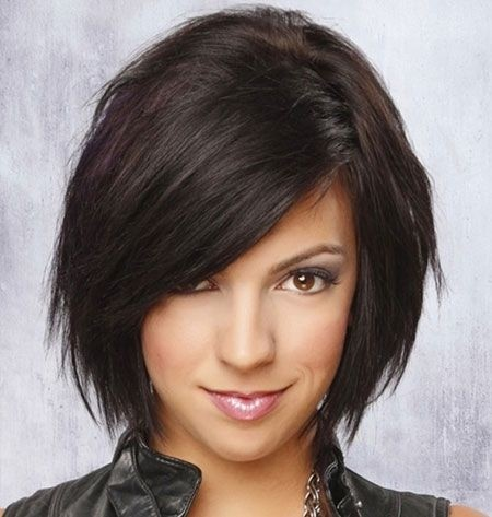 Medium Bob Haircut for Side Bangs - Funky Short Formal Hairstyles