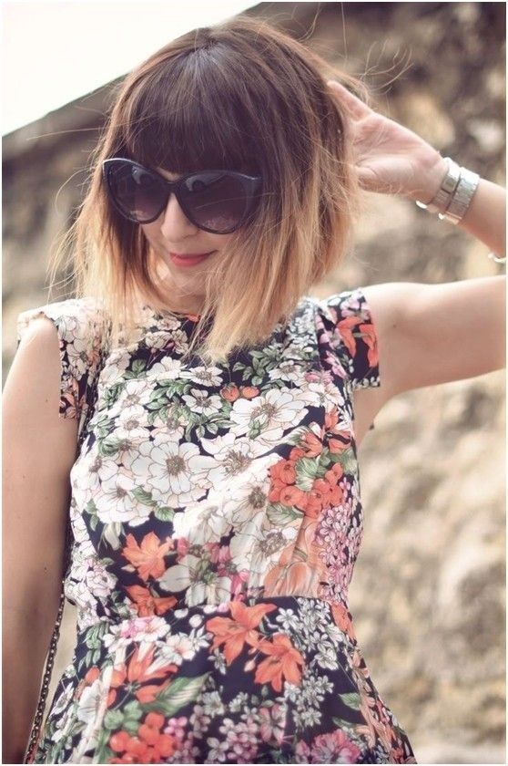 Pretty Ombre Hairstyles for Short Hair: Bob with Blunt Bangs
