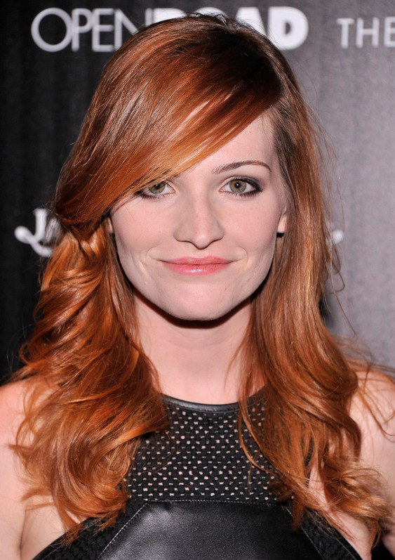 Raeden Greer Long Red Wavy Hairstyle with Side Swept Bangs for Women