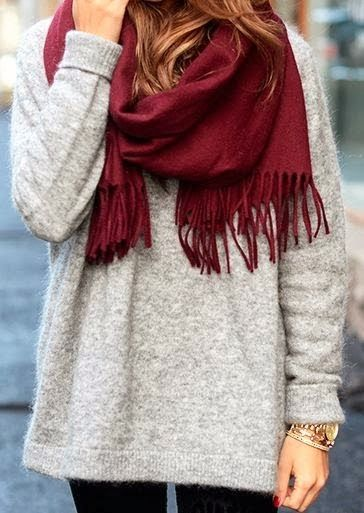 Red scarf, grey oversized sweater and black leggings combination for winter
