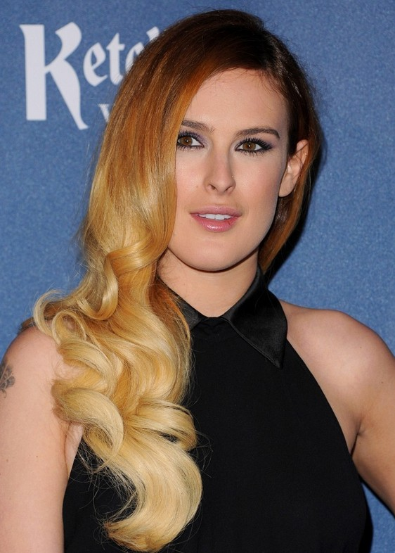 Rumer Willis Brown to Blonde Ombre Retro Hairstyle for Long Hair
