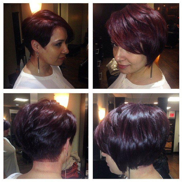 Short Layered Dark Red Bob Hairstyle for Women