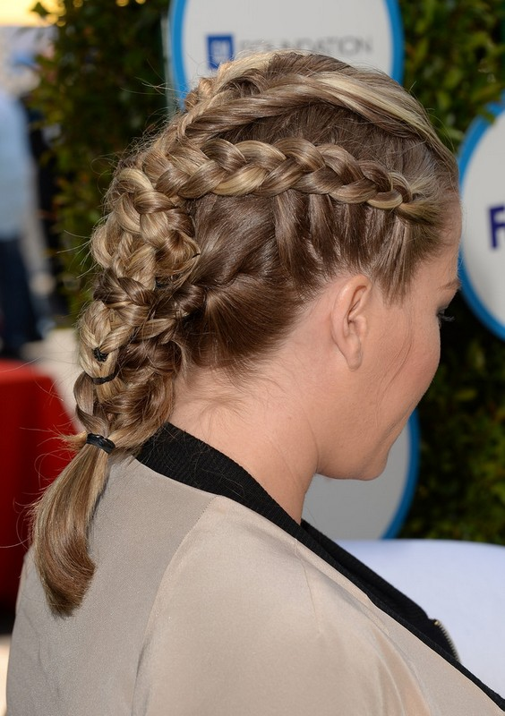 Side View of Kendra Wilkinson Multiple Braids