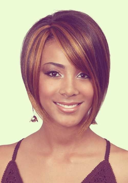 Straight Bob Haircut with Side Bangs - Short Hairstyles for Black Women