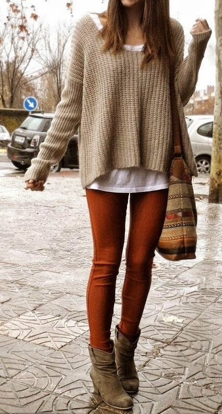 Tan knit oversized sweater and tobacco leggings