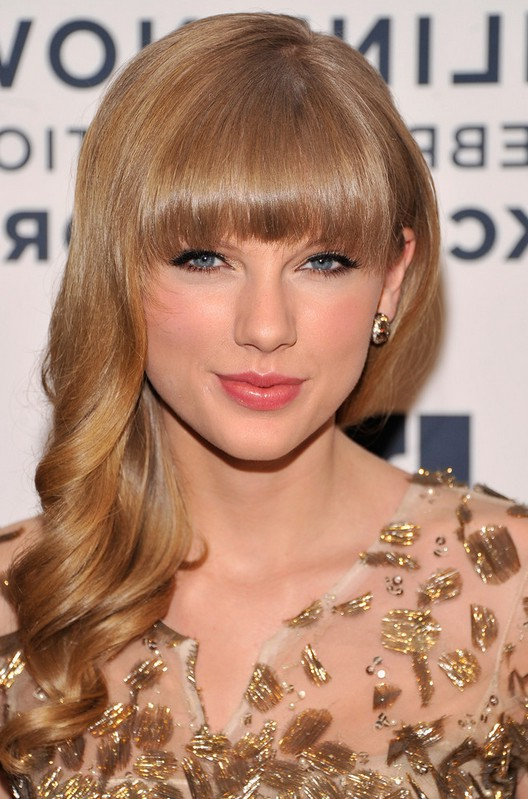 Taylor Swift Romantic Long Blonde Curly Hairstyle with Bangs for Wedding