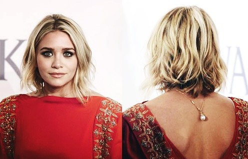 Ashley Olsen Short Layered Wavy Bob Hairstyle for Women