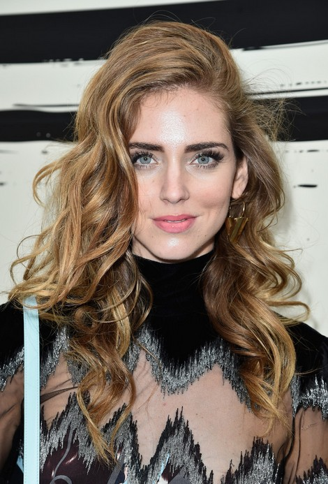 Chiara Ferragni Sexy Long Curly Hairstyle for Thick Hair
