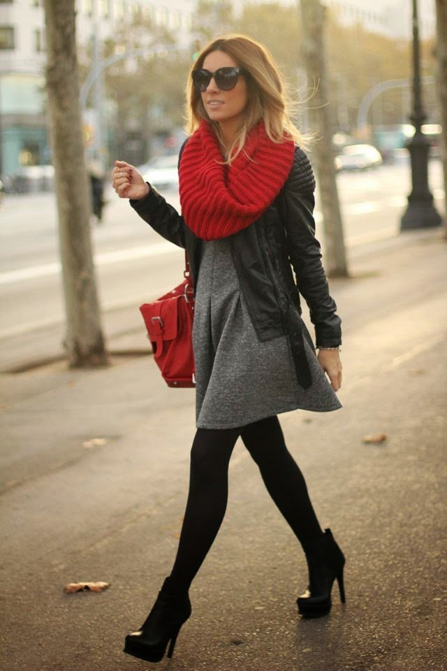 Chic Street Style Winter Outfit Idea with Dress