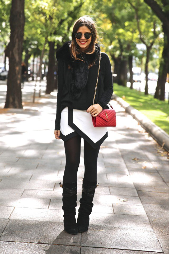 Classic Black and White Outfit Idea for 2015