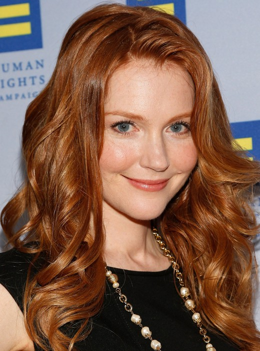 Darby Stanchfield Layered Red Curly Hairstyle for Women