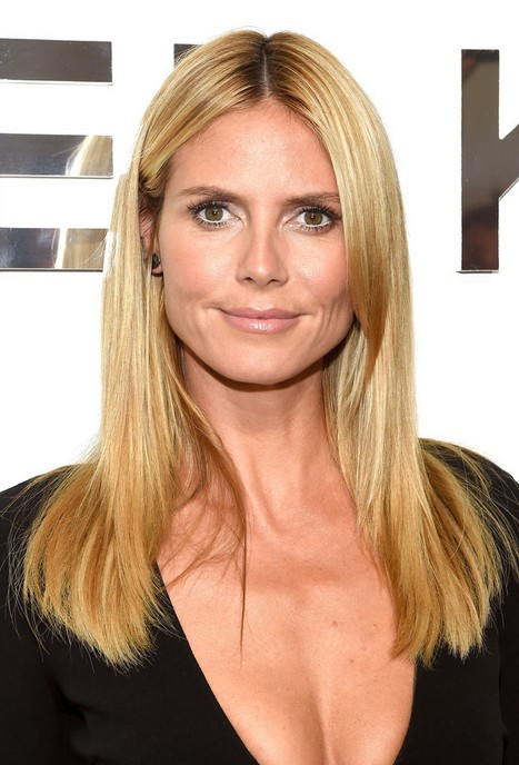 Heidi Klum Long Blonde Straight Hairstyle for Thick Hair