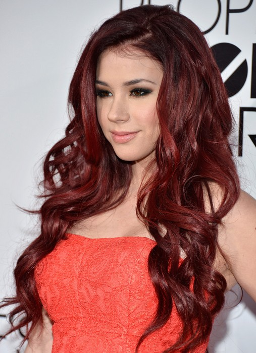 Jillian Rose Reed Long Red Curly Hairstyle for Women